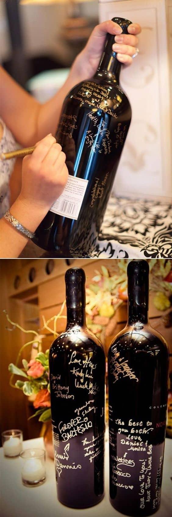 bottiglia vino come guestbook
